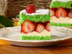 Cake Bars, Polish Recipes, Fruit Salad, Panna Cotta, Cheesecake, Strawberry, Dessert Recipes, Food And Drink, Pudding