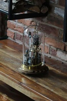"""Steampunk lamp """"Benjamin"""" • MarCoWood • Steampunk Lamp Steampunk Desk, Power Wire, Copper And Brass, Desk Lamp, Table Lamp, Glass Domes, Natural Oils, Snow Globes, Finding Yourself"""
