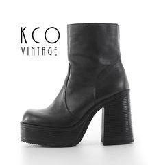 120f7533e6c Black Platform Boots 7.5 Vintage Steve Madden Chunky Leather Ankle Boot    90 s Vintage Stacked Block 4.5 High Heels US 7.5   UK 5.5   EUR 38