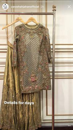 Pakistani Formal Dresses, Pakistani Dress Design, Pakistani Outfits, Indian Outfits, Fancy Wedding Dresses, Asian Wedding Dress, Wedding Wear, Gharara Designs, Pakistani Bridal Couture