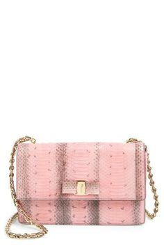 Love the pale pink and gold mix on this Salvatore Ferragamo shoulder bag.