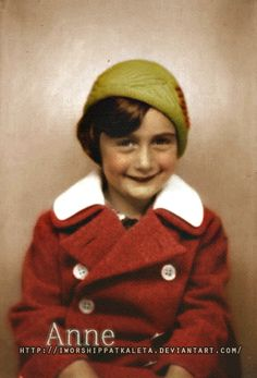 Four-year-old Anne Frank on September 11, 1933 in the city near the German/Holland border...picture taken during the time she and her family...  Colored by Livadialilacs