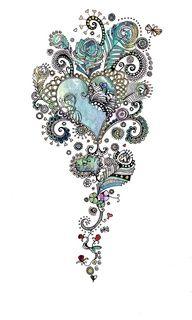 blue heart tattoo
