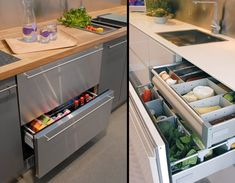 Drawer Refrigerator.  Norcool fridge lets you organize and cool your food inside drawers.