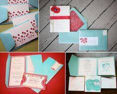 Red & aqua invites- bottom left corner= fave.!