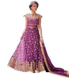 Buy Pink net embroidered semi stitiched salwar with dupatta party-wear-salwar-kameez online