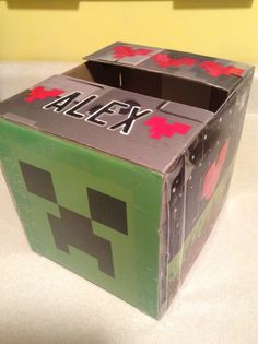 Minecraft valentine box made out of cardboard box his creeper plush came in