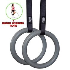 Elite Sportz Gymnastics Rings for a Full Body Workout - Quality Buckle Design, Highly Durable Straps and Comes With 2 Textured Gym Rings for a Confident Non-Slip Workout - Bonus Jump Rope Included >>> Visit the image link more details. Elite Gymnastics, Gymnastics Workout, Workout Days, Fun Workouts, Training Equipment, No Equipment Workout, Rings Workout, Gymnastic Rings, Fitness Motivation