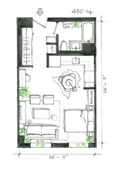 Exclusive Image of Small Apartment Plans Layout . Small Apartment Plans Layout 5 Smart Studio Layouts That Work Wonders For One Room Living Small Small Apartment Plans, Studio Apartment Floor Plans, One Room Apartment, Studio Apartment Design, Studio Apt, Studio Apartment Decorating, Apartment Interior, Small Apartments, Apartment Therapy