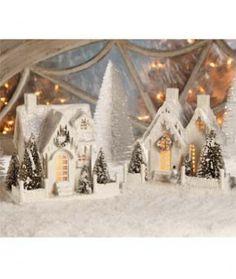 Joyeux Noel Glitter Ivory Cottages
