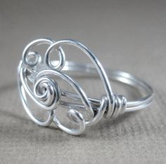 Wire Wrapped Ring -- Sterling Silver Cloud -- The Silver Lining.    FAST FACTS  -Materials: sterling silver wire  -Custom made; All sizes available,