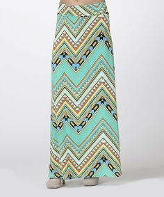 Another great find on #zulily! Mint & Coral Tribal Zigzag Maxi Skirt by BOLD & BEAUTIFUL #zulilyfinds