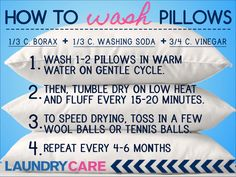 How to wash pillows in the washer.