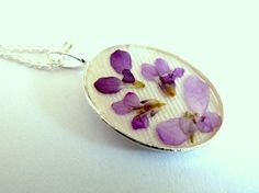 Botanical Gift Real Dried Pressed Flowers Necklace by FloraBeauty, $13.00