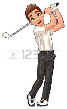 Jugador de golf. Vector de dibujos animados y carácter deportivo aislado.