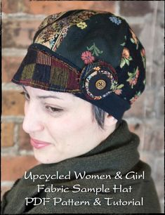 Fabric samples are simply gorgeous. the patterns, and colors, and textures, oh my! I am excited to share with you this PDF sewing pattern & tutorial - hats for women Hat Patterns To Sew, Pdf Sewing Patterns, Sewing Ideas, Sewing Projects, Sewing Hacks, Different Hat Styles, Top Hats For Women, Women Hats, Diy Hat