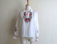 Cute Folkloric 60s 70s Embroidered Peasant Blouse by LolaAndBlack, $26.00