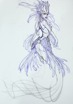 Nami, the Tidecaller, Red Lionfish Mermaid - WIP1 by *Noctume on deviantART