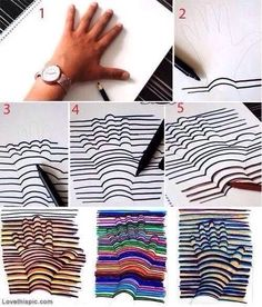 How to draw this cool 3D design - #3d, #Art, #DIY