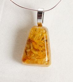Calendula Petals in Resin Pendant by GreyGyrl on Etsy, $12.00