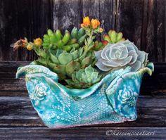 Aqua/lavender rose-stamp pot