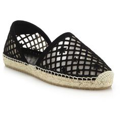 Jimmy Choo Dreya Perforated Suede D'Orsay Espadrille Flats (1.590 BRL) ❤ liked on Polyvore featuring shoes, flats, apparel & accessories, black, black slip-on shoes, jimmy choo flats, espadrille flats, black flats and black espadrilles