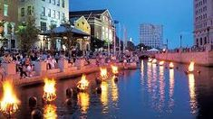 Fire festival in Providence, Rhode Island. Actually have been there for this and it was awesome! Weekend Trips, Weekend Getaways, Waterfire Providence, Weekend In New England, Columbus Day Weekend, Fire Festival, Festival Lights, Providence Rhode Island, Festivals Around The World