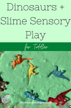 A fun way to make slime even more engaging to toddlers is by adding some plastic dinosaurs.  This was a fun way to continue to learn about the color green. #Slime #Dinosaurs #SensoryPlay