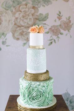 aqua wedding cake, photo by Chantal Lachance-Gibson Photography http://ruffledblog.com/first-look-inspired-scottish-wedding #weddingcake #cakes