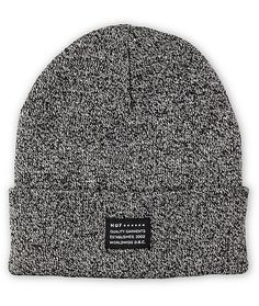 Accent your outfits with a classic look and warm acrylic comfort of the HUF Mixed Yarn black beanie. A stylish fold-over cuff beanie in a speckled mixed yarn black colorway with a HUF brand tag on the cuff that can be unfolded to wear as a slouch beanie.