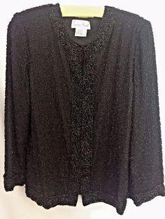 7602c7dcf9c31 Laurence Kazar Evening Jacket Black Beaded Size L Silk Lined Long Sleeve  Shoulder Pads Hook   Eye Font Closure Scoop Neck Adorned with Black Beads  Special ...