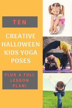 Practice yoga and celebrate Halloween with your kids or students. Try these Ten Creative Halloween Kids Yoga Poses. Pose images and descriptions, plus a lesson plan. Book ideas for more yoga poses, too! Kids Yoga Poses, Easy Yoga Poses, Yoga For Kids, Fun Poses, Yoga Games, Family Yoga, Childrens Yoga, Yoga Lessons, Kids Moves