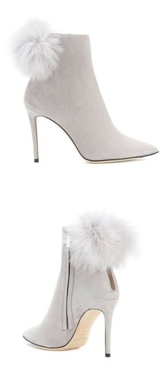 Elegant Jimmy Choo grey suede ankle boots with fur detailing