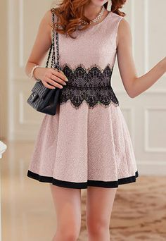 Black Lace Crew Neck Tank Top Bodycon Pleated Skater Dress