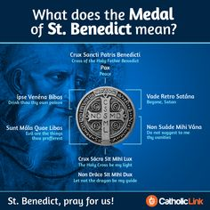 "Benedict medal is rich in meaning. Benedict holding a cross and his famous monastic rule. On his left and right are words meaning, ""The cross of our holy. Catholic Prayers, Catholic Saints, Roman Catholic, Catholic Answers, Catholic Beliefs, Catholic Sacraments, Catholic Churches, Catholic Kids, Catholic Quotes"