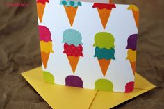 Blank Mini Card Set of 10 Awesome Ice Cream Cone by mad4plaid, $5.00