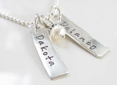 Personalized Hand Stamped Necklace - Sterling Silver - Tag Necklace - Front and Back Stamping. $53.00, via Etsy.