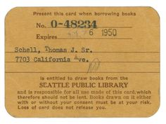 Seattle library card from the 1950s (Library card sign-up month!)