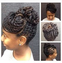 Flat twist bun with swoop bang