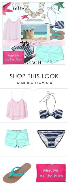 """beach totes"" by ainzme ❤ liked on Polyvore featuring MANGO, American Eagle Outfitters, J.Crew, Volcom, H&M, Wet n Wild, T-shirt & Jeans, Paolo Costagli and beachtotes"