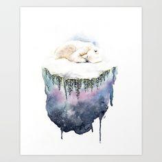 Polar Bear Dream Art Print by amandasueart Dream Art, Polar Bear, Arctic, Tapestry, Art Prints, Artwork, Collection, Hanging Tapestry, Art Impressions
