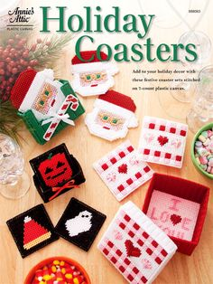 Plastic Canvas - Quick & Easy Patterns - Holiday Coasters, e-PatternsCentral.com