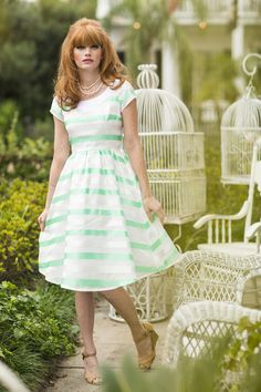 Southern Charm Dress Green | Gardenias and Gingham by Shabby Apple