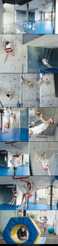 playoffice inserts children's indoor climbing gym into home