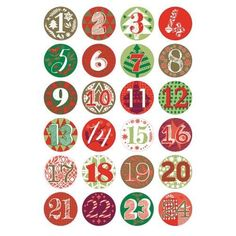 24 Numbered Badges for Advent Calendar Crafts - Green & Red Planner Stickers, Calendar Stickers, Advent Calenders, Diy Advent Calendar, Christmas Makes, Christmas Diy, Xmas, Grinch Christmas Decorations, Decorated Gift Bags