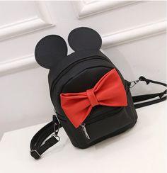 2016新しいミッキー耳甘い女の子弓カレッジ風ミニバックパック女性バッグ品質puレザー女性のバックパック韓国語バージョン