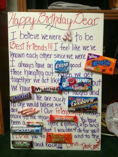 What a super cute and EASY DIY birthday gift idea – especially for someone who loves CANDY! The picture below shows this homemade birthday gift idea for a Candy Birthday Cards, Cute Birthday Gift, Bff Birthday, Candy Cards, Birthday Presents, Birthday Ideas, Birthday Quotes, Grandpa Birthday, Card Birthday