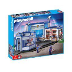 Playmobil 4264 politihovedkvarter med 2 politibetjente, en forbryder og en masse udstyr og våben til actionfyldt indsats mod forbrydere i Playmobil byen.