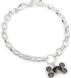 Jewelry For Dogs Gray Lg Bone On Chain Australian Crystals Sparkly Sterling Silver Plate