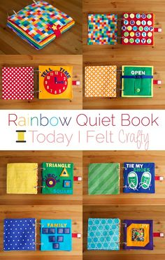 Rainbow Quiet Book - Toddler Busy Book - Today I Felt Crafty Open Close Page Diy Quiet Books, Baby Quiet Book, Felt Quiet Books, Diy Baby Books, Baby Crafts, Felt Crafts, Crafts For Kids, Quiet Book Patterns, Quiet Book Templates